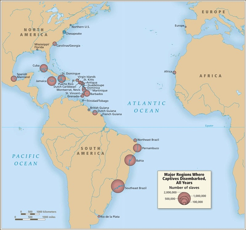 Map of major regions where captives in trans-Atlantic slave trade disembarked, Voyages: The Trans-Atlantic Slave Trade Database, courtesy of David Eltis and David Richardson, Atlas of the Transatlantic Slave Trade, New Haven: Yale University Press 2010. The Caribbean and South America received ninety-five percent of the slaves arriving in the Americas. Some captives disembarked in Africa rather than the Americas because their trans-Atlantic voyage was diverted as a result of a slave rebellion or because of capture by patrolling naval cruisers after the trade was banned starting in the early nineteenth century. Less than four percent disembarked in North America, and only ten thousand in Europe.