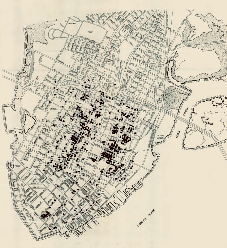 "Approximate locations of ""free persons of color,"" based on the 1859 City Directory, map prepared by Martha Zierden, Charleston, South Carolina, 1984, courtesy of the Charleston Museum. This map was produced in ""Between the Tracks: Charleston's East Side During the Nineteenth Century,"" by Dale Rosengarten, Martha Zierden, Kimberly Grimes, Ziyadah Owusu, Elizabeth Alston, and Will Williams III."