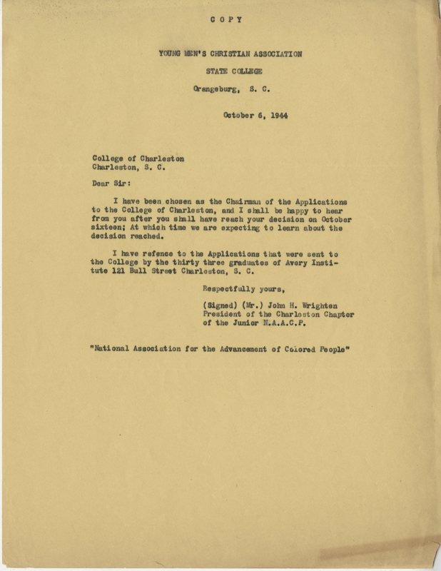 John Wrighten's correspondence with the College of Charleston regarding desegregation, Charleston, South Carolina, October 6, 1944, courtesy of College of Charleston Special Collections.