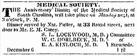 <span>Annoucement of dinner served by Nat Fuller at the Medical Society, Charleston, South Carolina, </span><em>Charleston Courier</em><span>, June 12, 1855,</span> courtesy of America's Historical Newspapers.