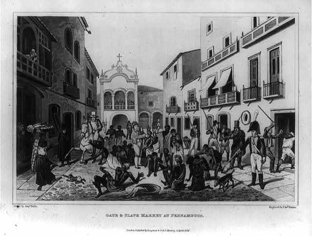 Slave market in Pernambuco, Brazil, drawing by Augs. Earle, engraving by Francis Edward Finden, 1824, courtesy of the Library of Congress. The engraving was included in the journal of Maria Graham's voyage to Brazil from 1821-23.