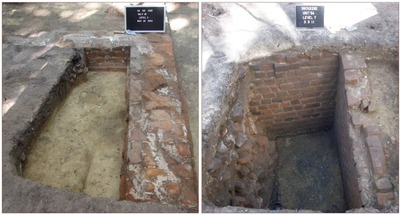 (Left) Remains of the parsonage's foundations. (Right) A portion of the parsonage's cellar, photographs by Kimberly Pyszka, Stono Preserve, 2011 and 2014.