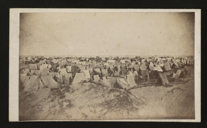 Photograph depicting a Union camp, G.T. Lape, Morris Island, South Carolina, circa 1861-1865, courtesy of Library of Congress.