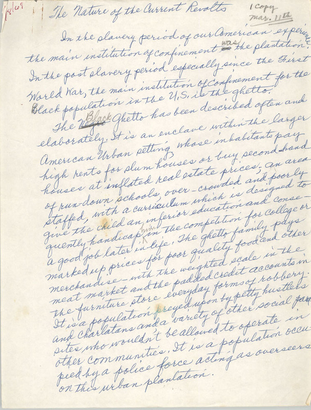"""The Nature of the Current Revolts,"" handwritten essay by Septima P. Clark, n.d., Septima P. Clark Papers, courtesy of the Avery Research Center."