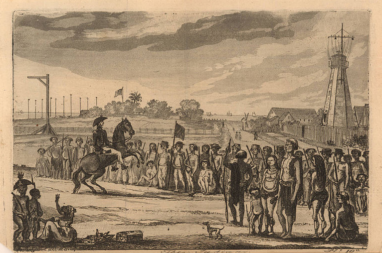 Depiction of a slave insurrection in the British colony of Demerara (now Guyana) on August 18, 1823, created by Joshua Bryant, 1823, courtesy of John Carter Brown Library.