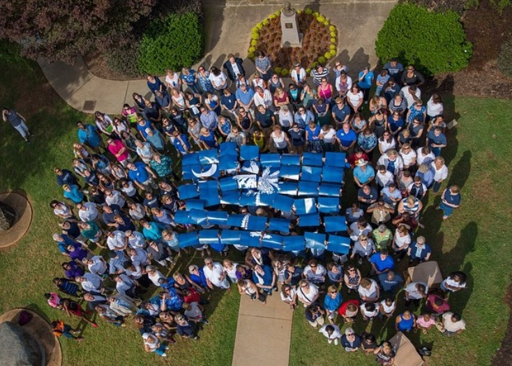 Individuals at Winthrop University form the South Carolina state flag to show unity with Charleston and support for the victims of the Emanuel AME Church shooting, July 10, 2015, Rock Hill, South Carolina, Instagram photo courtesy of Winthrop University.