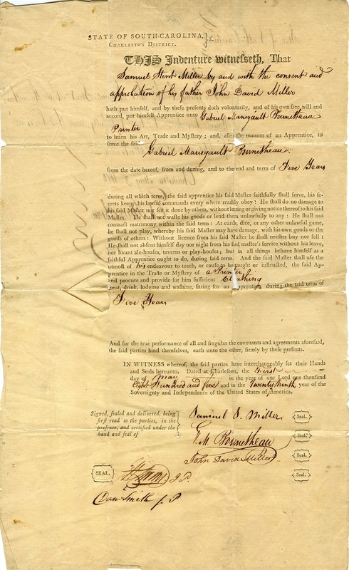 Samuel Miller apprenticeship indenture, 1805, courtesy of the South Carolina Historical Society.