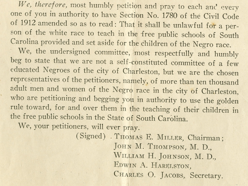 Selection from a petition demanding that African Americans teachers be employed in Charleston County public schools, Charleston, South Carolina, January 18, 1919, John L. Dart Family Papers, courtesy of the Avery Research Center.