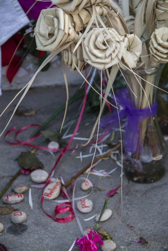 Palmetto roses and stones left at the Emanuel AME Church, photograph by Brandon Coffey, June 29, 2015, Charleston, South Carolina.