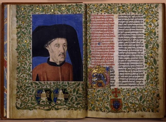 Cover of <em>Crónica dos feitos da Guiné</em> by Gomes Eanes de Zurara, published in 1460, Paris, France, courtesy of the Bibliothèque nationale de France. King Alfonso V commissioned the<em>Crónica</em>, which was first composed by Zurara in 1453.