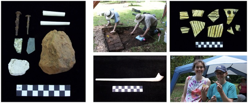 (Left) Example of recovered artifacts including, nails, window glass, mortar, brick, and tobacco pipe stems. (Upper center) Excavating around the church foundations. (Bottom center) 1720s tobacco pipe recovered from under the church's main entrance steps. (Upper right) Staffordshire slipware sherds. (Below right) Field school students displaying artifacts.