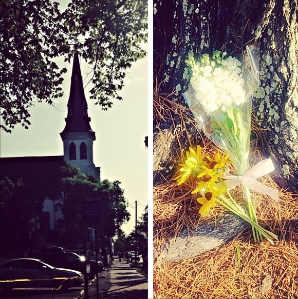 Emanuel AME Church cordoned off with police tape the morning after the shooting (left) and flowers left at a tree nearby before visitors were able to leave items in front of Emanuel AME Church (right), Instagram photograph by Ashley Edge, June 18, 2015, Charleston, South Carolina.