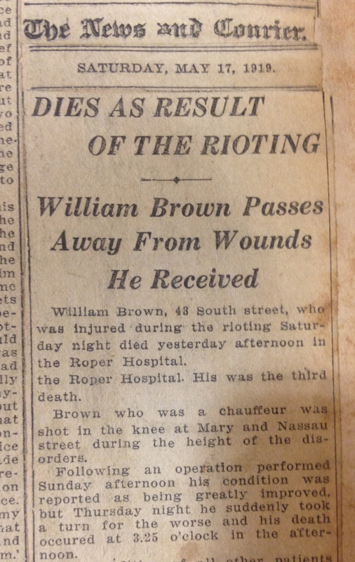 """""""Dies as Result of the Rioting,"""" Charleston News and Courier, May 17, 1919, courtesy of Visualizing the Red Summer."""