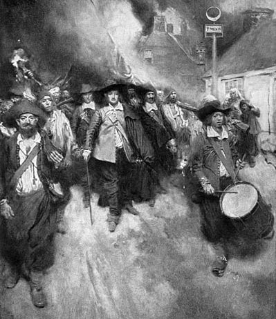 """The Burning of Jamestown,"" painting by Howard Pyle, 1905, courtesy of Canadian Libraries."