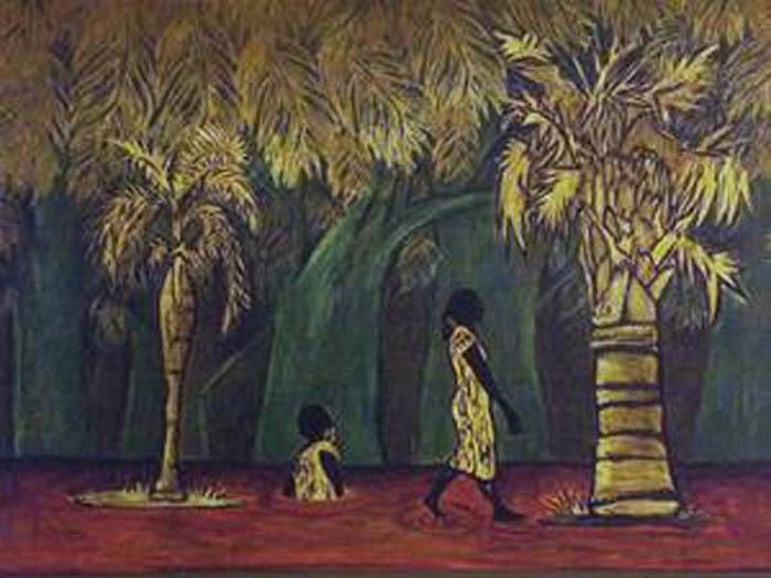 <em>Una parte emerge y una parte se sumerge</em><span>, pintura de Maribel Acosta, Charleston, Carolina del Sur, 2013.Acosta es una artista, educadora, directora teatral y miembro activo de la comunidad. Su arte encapsula temas relacionados con la comunidad, la migración y el Lowcountry.</span>