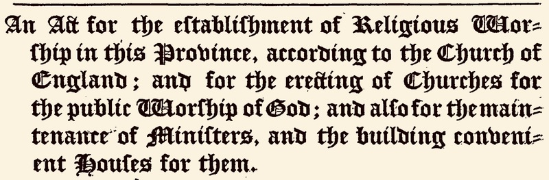 An excerpt from the 1706 Church Act, South Carolina.