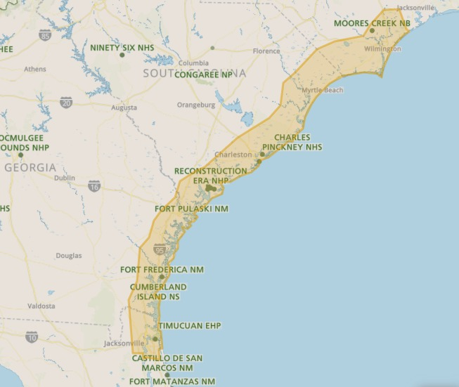 Map depicting the Gullah Geechee Cultural Heritage Corridor, courtesy of the National Parks Service.