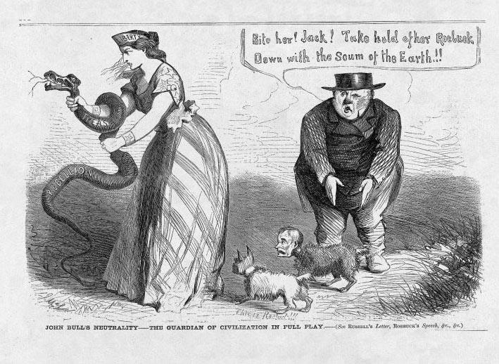 "<span>""John Bull's Neutrality-The Guardian of Civilization in Full Play,""</span>cartoon by John McLenan, <em>Harper's Weekly</em>, September 13, 1862, courtesy of HarpWeek."