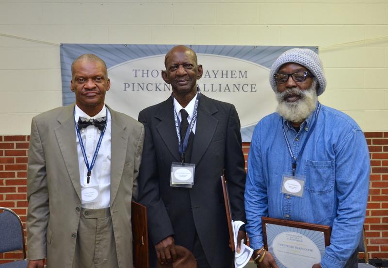 "Master ironworkers and Thomas Mayhem Pinckney Craftsmanship Award recipients, (left to right), Carlton Simmons, Joseph ""Ronnie"" Pringle, and Yaw Owusu Shangofemi, 2015, courtesy of the Preservation Society of Charleston."