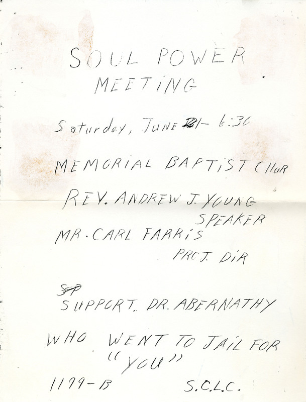 "Flyer for ""Soul Power Meeting,"" Charleston, South Carolina, 1969, courtesy of the Catherwood Library Kheel Center at Cornell University."
