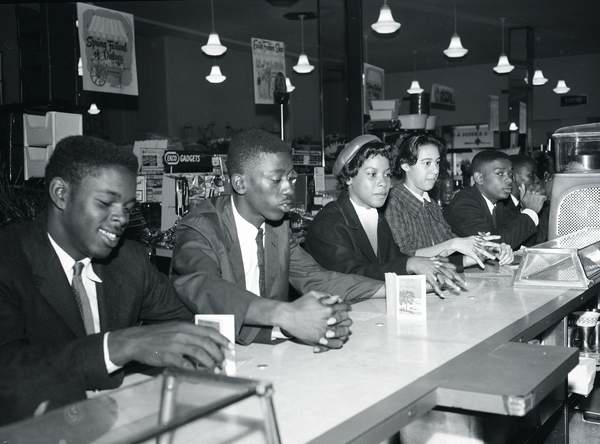 Burke High School students at a sit-in at the S.H. Kress store on King Street, Charleston, South Carolina, April 1, 1960, photograph by Bill Jordan, courtesy of the Post & Courier. From left, Alvin Latten, David Richardson, Verna Jean McNeil, Minerva Brown King and Fred Smalls.