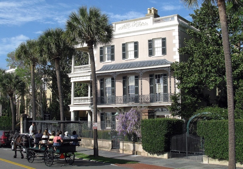 Carriage ride tour in front of the Edmondston-Alston House, photograph by Spencer Means, Charleston, South Carolina, 2012.