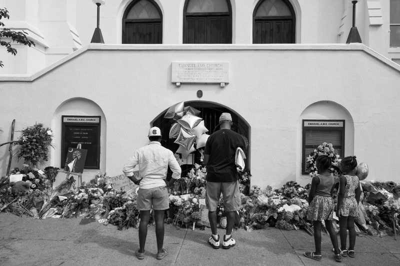 Visitors stop outside the Emanuel AME Church to pay their respects, photograph by Delane Chavez, June 20, 2015, Charleston, South Carolina.