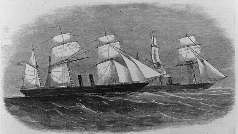 """""""The captured Rebel privateer 'Florida' and the United States steamer 'Wachusett,'""""<em>Harper's Weekly</em>, 1864, courtesy of the Library of Congress, Prints and Photographs Division."""