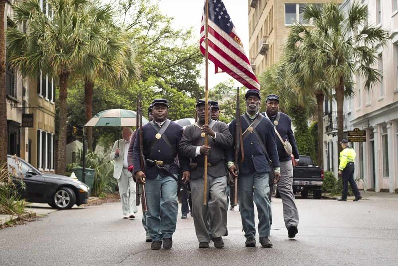 The 54th Massachusetts Regiment re-enactment procession, photograph by Jonathan Boncek, Charleston, South Carolina, April 19, 2015.