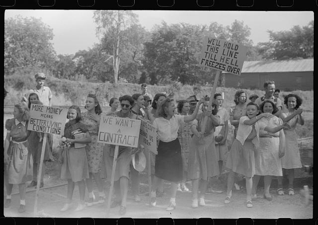 <p>Strikers gathered outside a mill, with support of the Congress of Industrial Organizations (CIO), Greensboro, Georgia, 1941, courtesy of Library of Congress Prints and Photographs Division.</p>