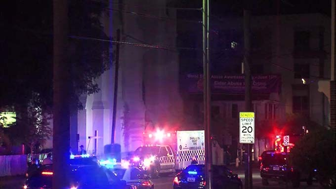 Police and emergency responders outside of Emanuel AME Church on the night of the shooting, June 17, 2015, Charleston, South Carolina, courtesy of ABC New4 WCIV-TV.