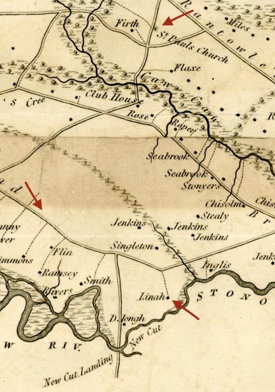 Detail of Colleton District map (1825), surveyed by Samuel Ruddock in 1820, courtesy of the University of South Carolina Libraries Digital Collections.