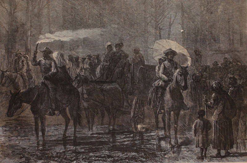 Wood engraving depicting a large group of enslaved people escaping bondage to join Union troops, A.R. Waud, Virginia, 1864, courtesy of Internet Archive.