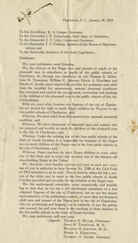 Letter from Black leaders in Charleston to South Carolina politicians requesting that they overturn the city ordinance preventing Black teachers from teaching in Charleston's Black public schools, Charleston, South Carolina, 1919, courtesy of the Avery Research Center.