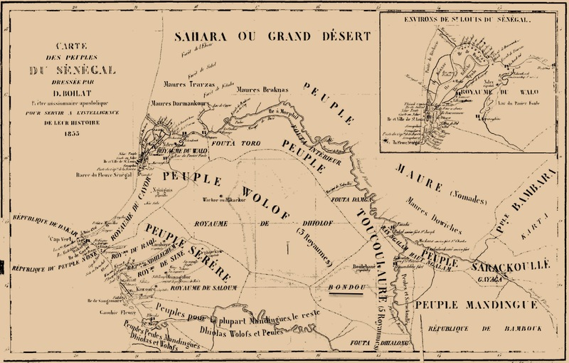 Map of West African kingdoms and regions, including Bondu, from David Boilat's Esquiesses Sénégalaises (Senegalese Sketches), 1852, courtesy of Gallica Digital Library.