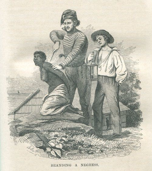 An illustration of enslavers branding a captured African woman in West Africa, from Captain Canot Or Twenty Years of an African Slaver, 1854.