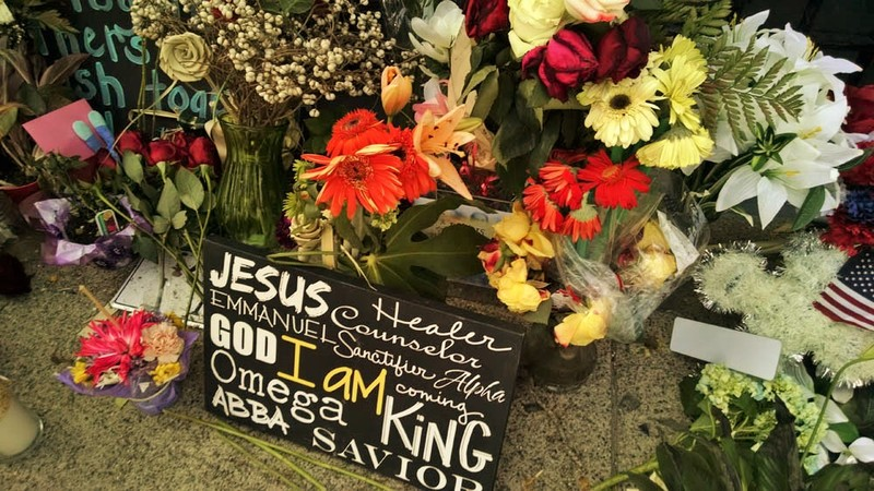 A poster left by visitors outside the Emanuel AME Church, photograph by Toni Carrier, June 23, 2015, Charleston, South Carolina.