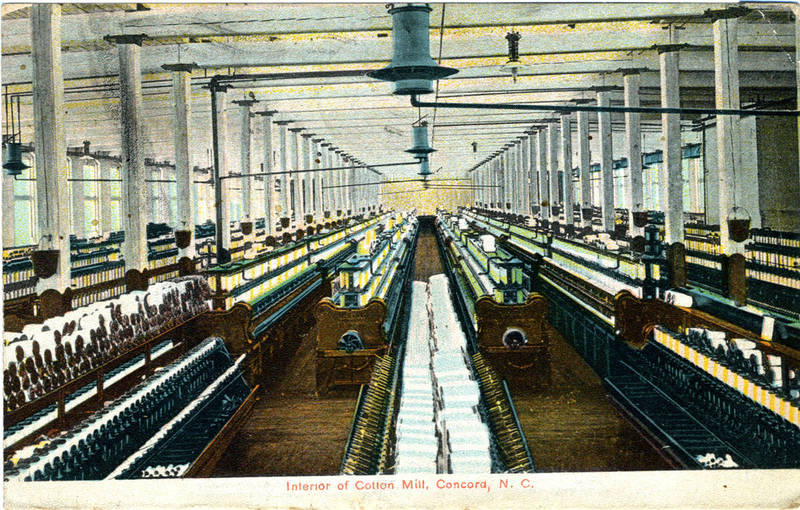 Interior of Cotton Mill, Concord, North Carolina, ca. 1909, courtesy of the North Carolina Collection Photographic Archives, Wilson Library, University of North Carolina at Chapel Hill.