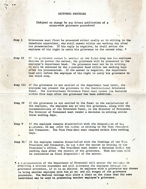 Grievance procedure from strike settlement, Charleston, South Carolina, 1969, courtesy of the Catherwood Library Kheel Center at Cornell University.