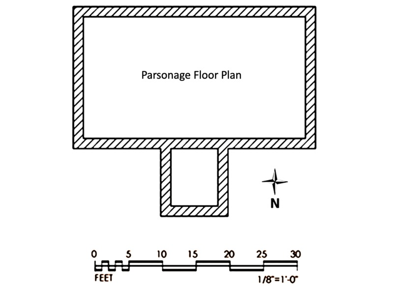 St. Paul's Parish parsonage floor plan, created by Kendy Altizer, 2014.