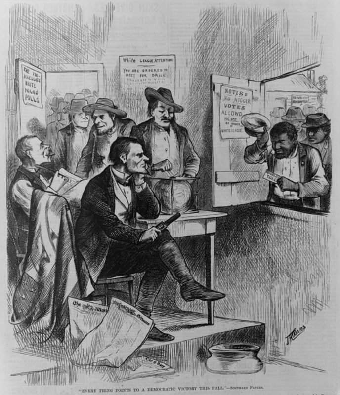"<span>""Everything points to a Democratic victory this fall - Southern Papers,"" 1874, wood engraving by James Albert Wales, courtesy of Library of Congress Prints and Photographs Division.<br /></span>"