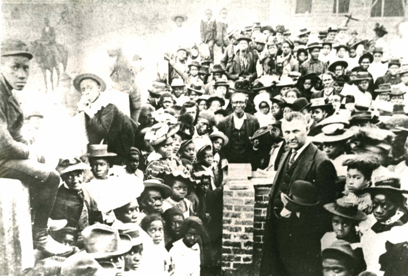 Reverend John L. Dart lays the cornerstone of the Charleston Industrial Institute (Dart standing in forefront on right), ca. 1890s, courtesy of the Avery Research Center.