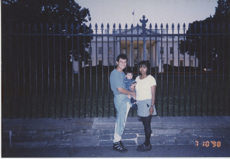 Mario Puga and Alma López outside of the White House, Washington, D.C., 1997, courtesy of Alma López.