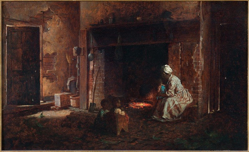 """Painting of an enslaved woman and children in a kitchen titled """"Washington's Kitchen,"""" Eastman Johnson, Mount Vernon, Virginia, 1864, courtesy of the Mount Vernon Ladies' Association."""