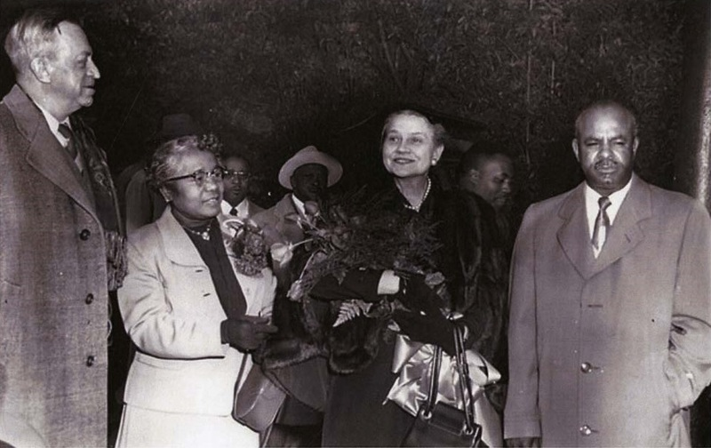[Left to right] Federal Judge J. Waties Waring, Mamie Garvin Fields, Elizabeth Waring, and Arthur J. Clement, ca. 1950s, courtesy of the <em>Post and Courie</em>r.