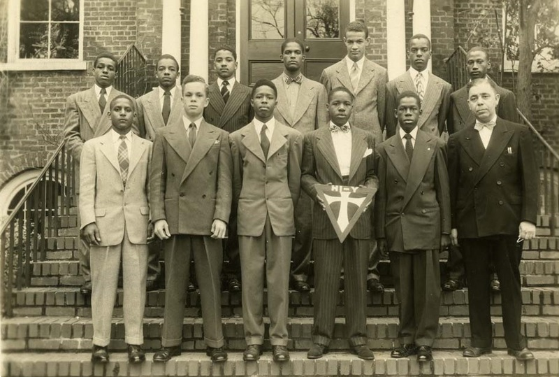 Members of the Hi-Y Club in front of the Avery school building, Charleston, South Carolina, ca. 1939, courtesy of the Avery Research Center.