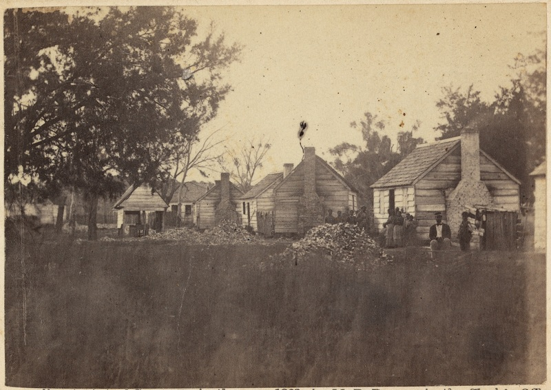 Slave dwellings, photograph by Timothy O'Sullivan, Port Royal, South Carolina, 1862, courtesy of Library of Congress.