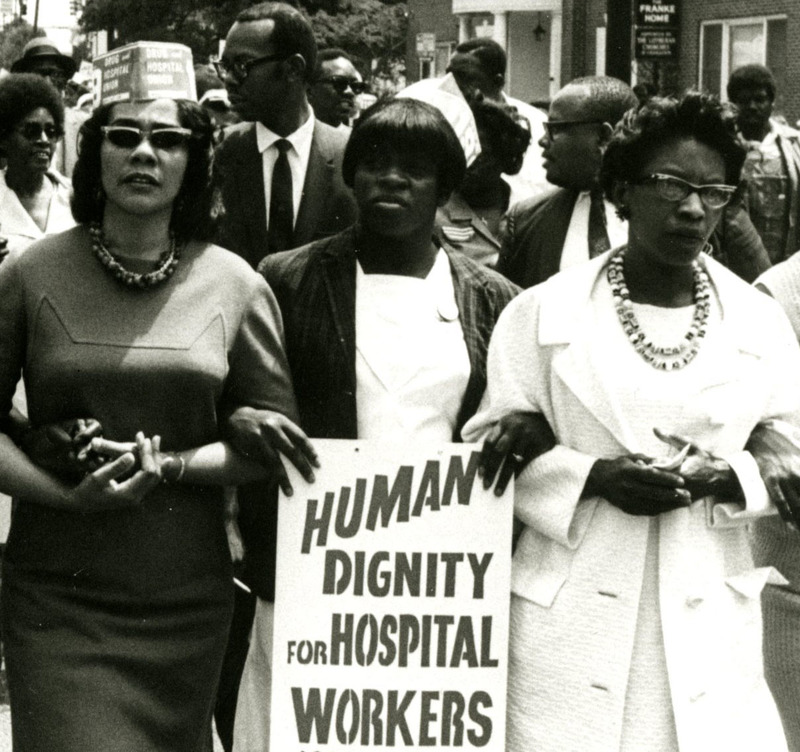 Rosetta Simmons (center) demonstrating along side Coretta Scott King (left) and Juanita Abernathy (right), Charleston, South Carolina, 1969, courtesy of the Avery Research Center.