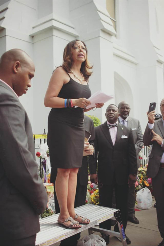 Speakers at a vigil outside of Emanuel AME Church,  June 20, 2015, Charleston, South Carolina, courtesy of ABC New4 WCIV-TV.