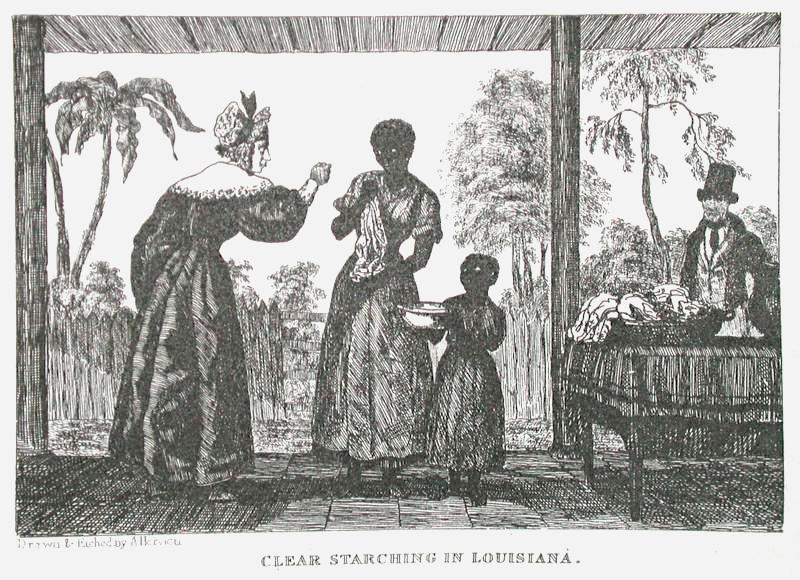 Illustration depicting a female slaveholder berating an enslaved woman and child, Auguste Hervieu, Louisiana, 1836.